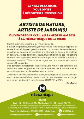 ARTISTE DE NATURE, ARTISTE DE JARDIN(S)